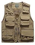 Jenkoon Men's Work Multi-Pockets Lightweight Outdoor Travel Fishing Vest (Khaki-05, Large)