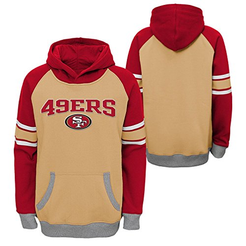 Outerstuff NFL San Francisco 49Ers Boys Robust Pullover Hoodie, Tan, Large (14-16)