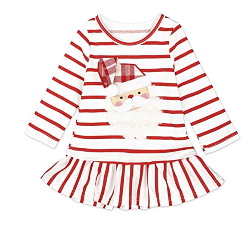 (Fashspo Toddler Little Girl Christmas Dress Santa Claus Casual Cotton Unicorn Stripe Long Sleeve)