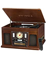 Victrola Navigator 8-in-1 Classic Bluetooth Record Player with USB Encoding and 3-Speed Turntable, Espresso