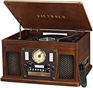 Victrola 8-in-1 Bluetooth Record Player & Multimedia Center, Built-in Stereo Speakers - Turntable, Wireles