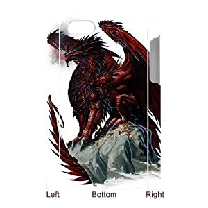 3D Bumper Plastic Case Of Red Dragon customized case For Iphone 4/4s