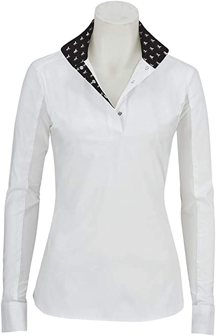 RJ Classics Girls Rebecca Jr Show Shirt White with Black Horse Print Trim