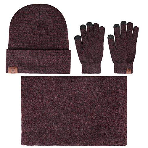 Winter Men Beanie Hat + Scarf + Touch Screen Gloves, 3 Pieces Winter Warm Clothing Set for Men ()