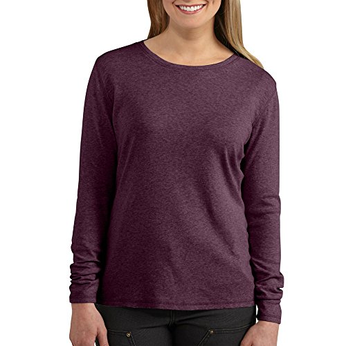 Carhartt Women's Calumet Long Sleeve Crewneck T-Shirt, Potent Purple Heather, (Ladies Long Sleeve Crewneck T-shirt)