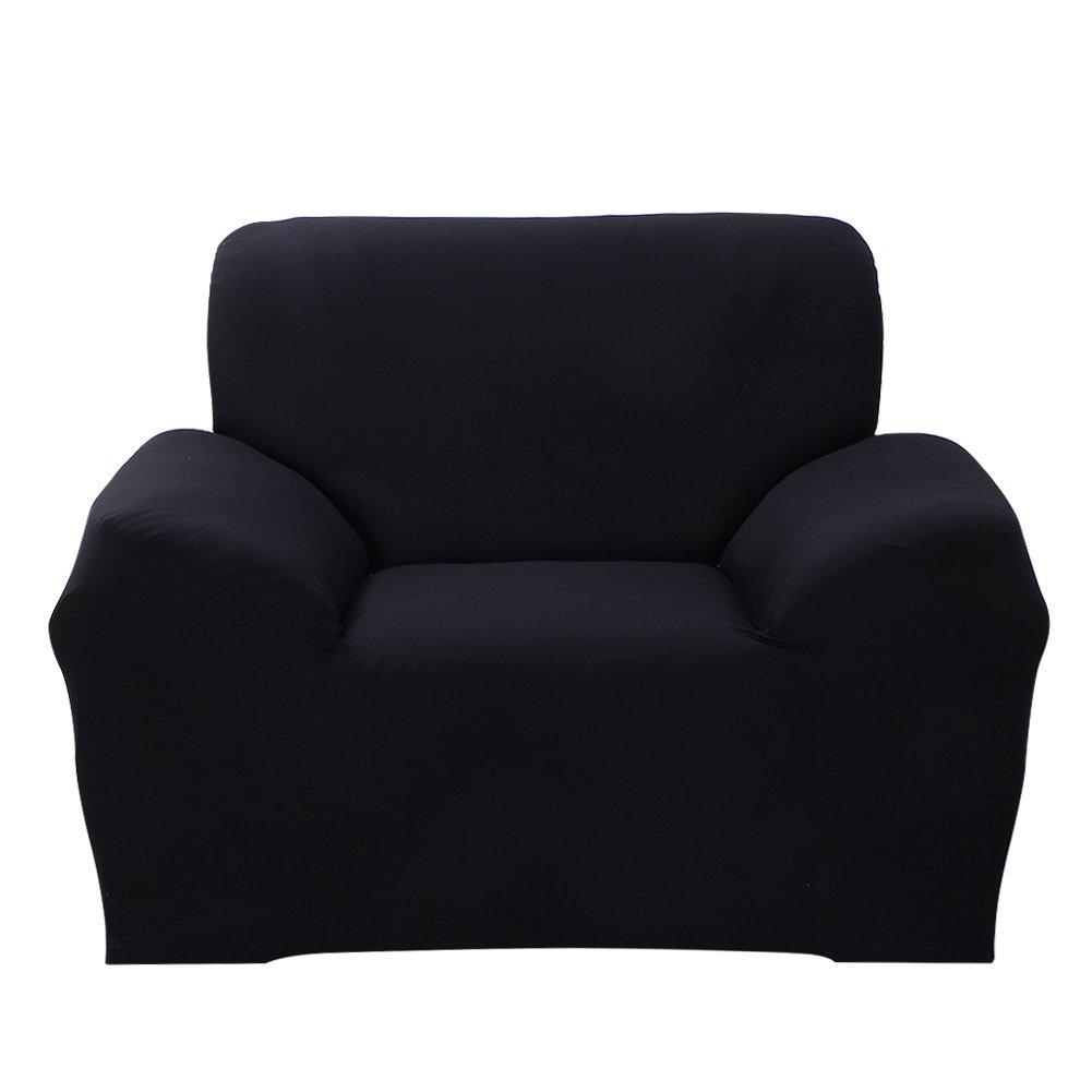 1 seat, Black cjc Premium Quality Solid Color Elastic Sofa Cover Stretch Arm Elastic Sofa Slipcover 1 2 3 4 Piece Polyester Spandex Fabric Slipcovers