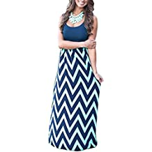 Aifer Womens Boho Chevron Striped Empire Tank Top Long Dress Beach Maxi Dresses