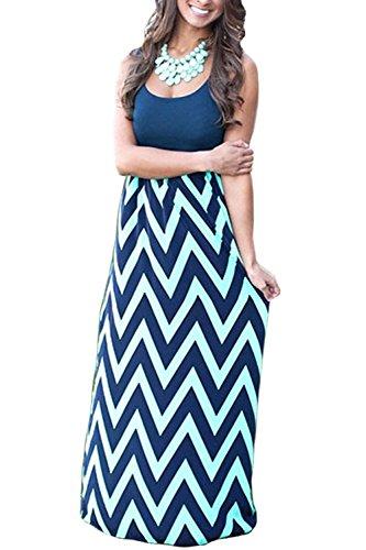 - Aifer Womens Boho Chevron Striped Empire Tank Top Long Dress Beach Maxi Dresses