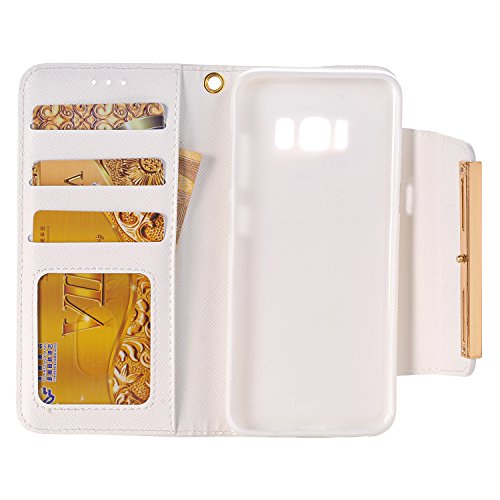 Shiny for Color PU Cards Leather elecfan Case Plus Envelope 2 Lady Poacket S8 Candy Chain Plus Slots with Bag Multi for Crossbody Wallet Galaxy Cover Money amp; White A05 White inch 6 S8 Samsung Handbag qwS6v