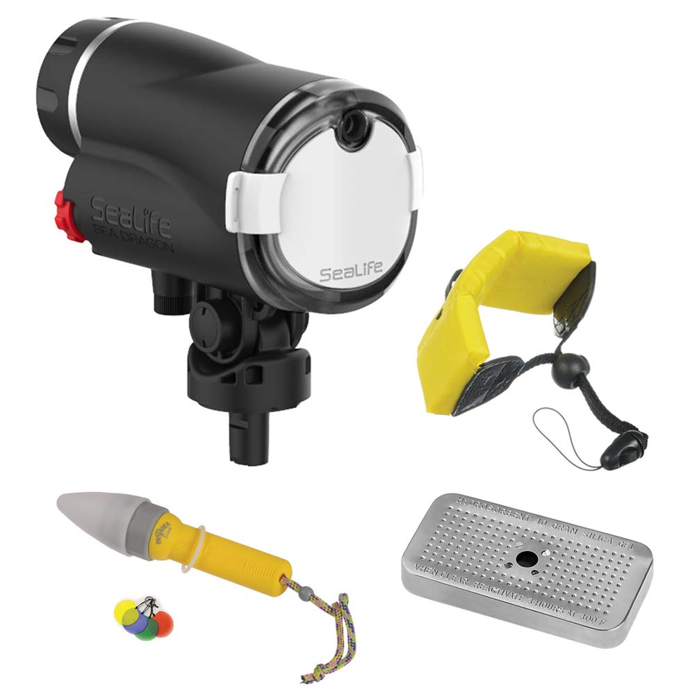 SeaLife Sea Dragon Digital Underwater Flash Head with Floating Wrist Strap, Nano Spotter & Silica Gel Metal Case Bundle by SeaLife