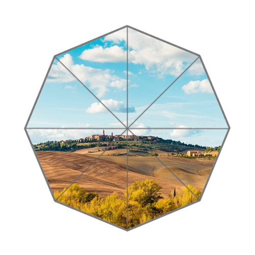 Flipped Summer Y Beautiful Tuscan Landscape Around Pienza Town, Italy Customized Art Prints Umbrella by Flipped Summer Y