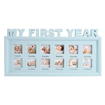azul claro Unique Baby Gifts Las decoraciones perfectas para la pared de la habitaci/ón My First Year Baby Photo Frame NewBorn Baby Keepsake Frame Kit Wood Kids Wall Hanging Picture Frame