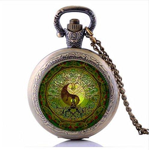 and yang Pocket Watch Necklace, Handmade Green Mandala Time Gem Pendant ()
