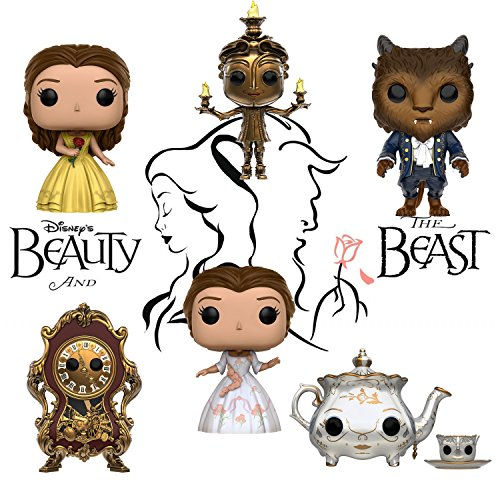Pop! Disney: Beauty & the Beast Belle, Beast, Lumiere, Cogsworth, Mrs. Potts & Chip and Belle (celebration) Set of 6
