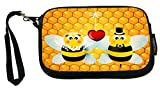 UKBK Bumble Bees in Love Wedding Illustration Neoprene Clutch Wristlet with Safety Closure - Ideal case for Camera, Universal Cell Phone Case etc.