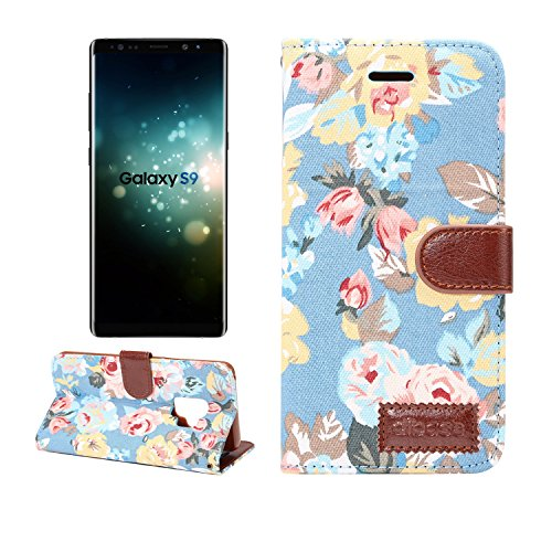 Price comparison product image Galaxy S9 Plus Wallet Case, Gostyle Elegant Retro Flower Pattern Design Shockproof Cover, Samsung Galaxy S9 Plus PU Leather Flip Case with Credit Card Slots Magnetic Stand Function, Blue Flower