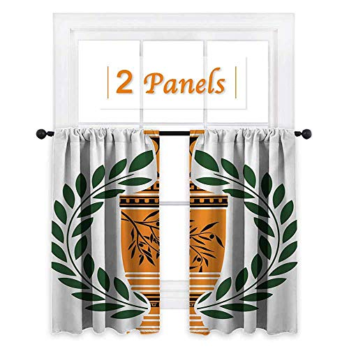 Toga Party Thermal Insulating Blackout Curtain Old Antique Greek Vase with Olive Branch Motif and Laurel Wreath Blackout Draperies for Bedroom W72 x L63 Hunter Green Orange Black