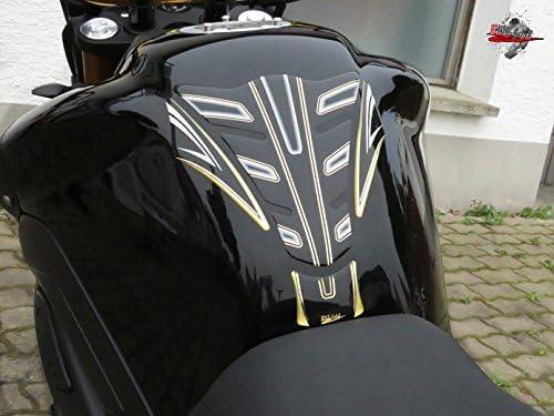 502221va Tankpad 3d Schwarz Gold Tankschutz Motorrad Aufkleber Auto