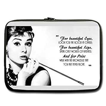 Beautiful Eyes Audrey Hepburn Quote 13 Laptop Notebook Sleeve Case