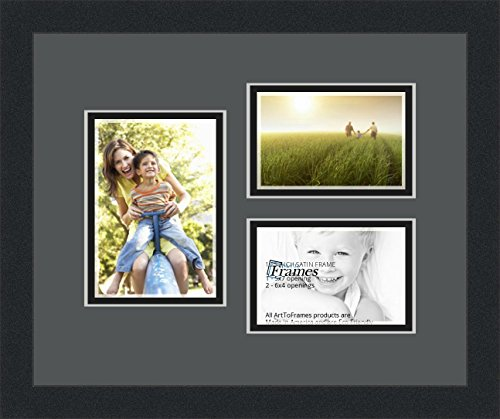 Art to Frames Double-Multimat-1147-41/89-FRBW26079 Collage Photo Frame Double Mat with 1 - 5x7 and 2 - 4x6 Openings and Satin Black Frame