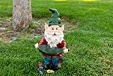 Cheap Alpine Gnome with Leaf Birdfeeder Statue, 16 Inch Tall