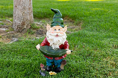 Alpine Gnome with Leaf Birdfeeder Statue, 16 Inch Tall