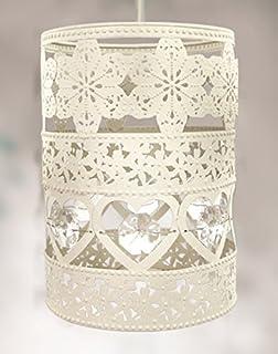Vintage Style Pendant Heart Light Shade  Hanging Lantern Style Shabby Chic  Cream