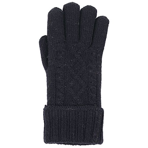BYOS Winter Classic Cable Ultra Warm Plush Fleece Lined Knit Gloves, More Styles (Black Ribbed Turnover Cuff)