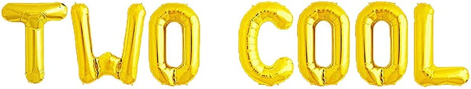 AonnDeel 16inch TWO COOL Letter Foil Balloons Gold Letter Foil Balloons for Baby Show Second Birthday Baby Show 2st Party Supplies Decorations