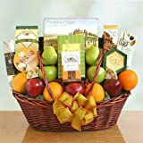 Fruit, Cheese, Nuts and Meat Gift Basket with Crackers and Chocolate