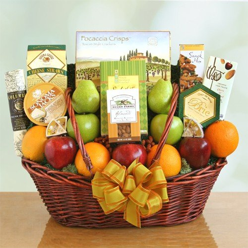 Fruit, Cheese, Nuts and Meat Gift Basket with Crackers and Chocolate (Send Gift Hamper)