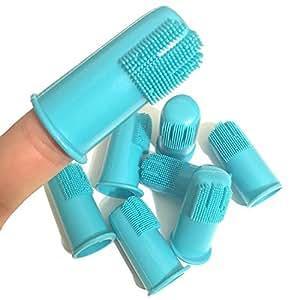 Professional Dog Finger Toothbrush by H&H Pets   Best Professional Cat Dog Finger Toothbrush, Great Dental Hygiene, Value Pack of 8