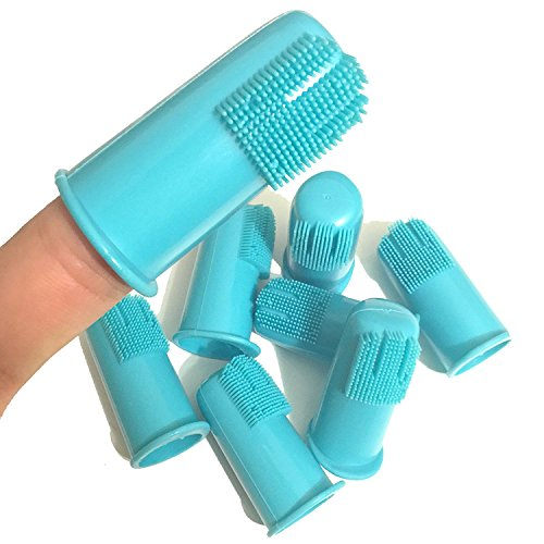 H&H Pets Professional Dog Finger Toothbrush Cat Dog Finger Toothbrush, Great Dental Hygiene, Value Pack of 8