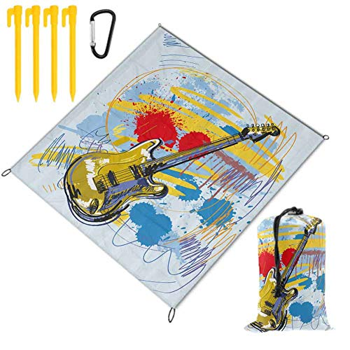 SCOCICI1588 Waterproof Picnic Blanket Portable Abstract Motif Hearts Foldable Sand Proof for Wet Grass Hiking or Kids…