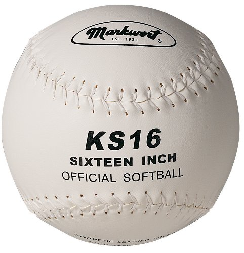 Markwort 16-Inch Synthetic Cover Softball, White ()
