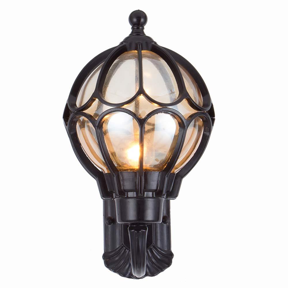 Esterno Lanterna a muro in lega d'epoca Vintage Globe Ball Paralume esterno applique da parete giardino decorativo porta esterna coperta (Colore   nero-Height 41cm)