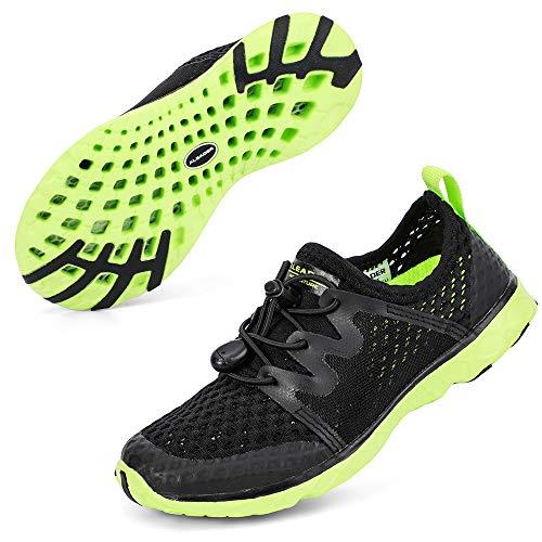 ALEADER Boys Water Shoes Kids Comfort Walking Shoes Youth Fashion Sneakers Black/Green 6 M US Big Kid