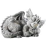 Mythical Sleeping Baby Dragon Garden Sculpture Left