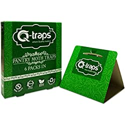 Q-Traps Pantry Moth Traps - Safe, Nontoxic, Insecticide & Odor Free, Pheromone Attractant Traps for Common Kitchen Moths - Pack of 6 traps