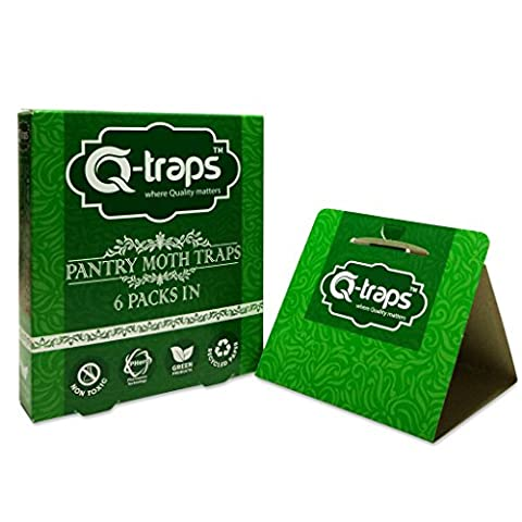 Q-Traps Pantry Moth Traps - Safe, Nontoxic, Insecticide & Odor Free, Pheromone Attractant Traps for Common Kitchen Moths - Pack of 6 (Moths Spray)