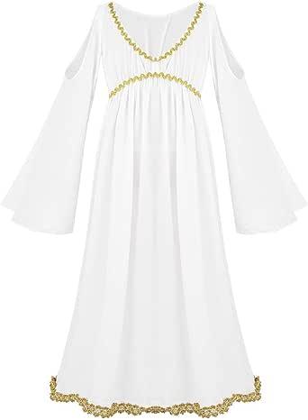 inhzoy Disfraz de Diosa Griega para Niña Vestido Largo de Atenea ...