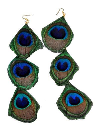 Long Genuine Peacock Feather Earrings
