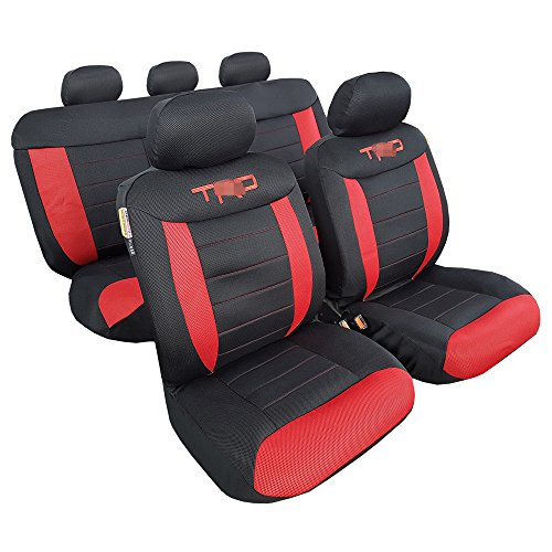 New 3D Airflow Mesh Embroidery Car Seat Covers Universal Size 9pcs Red Black for Toyota Tacoma - Cool in Summer...