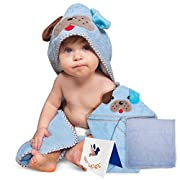 Adorable Soft Cotton Puppy Hooded Baby Towel [Blue], Large Sized:30X30 Inch | Soft Washcloth | Designed Greeting Card | Parenting eBook | Thick and Absorbent | For Infants, Toddlers and Newborns