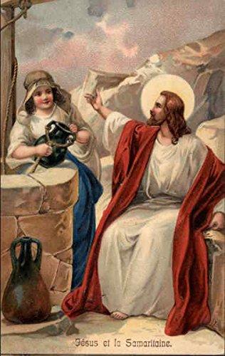 jesus-et-la-samaritaine-religious-original-vintage-postcard