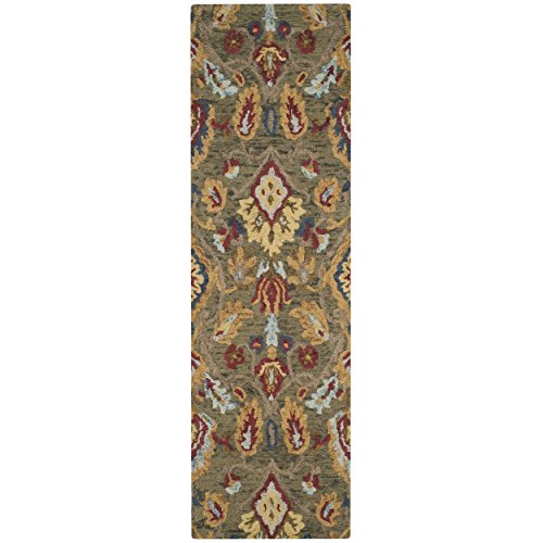 (Safavieh Blossom Collection BLM402B Handmade Green and Multi Premium Wool Runner (2'3