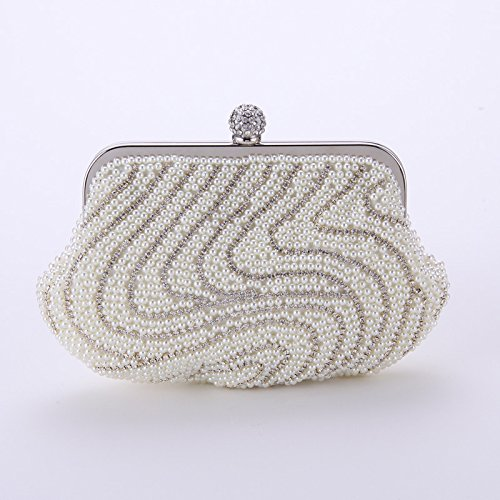 De Haxibkena Purse Pour White Champagne Portable Femme Clutch Party Soirée Main À Sac Cocktail color r5qSUr