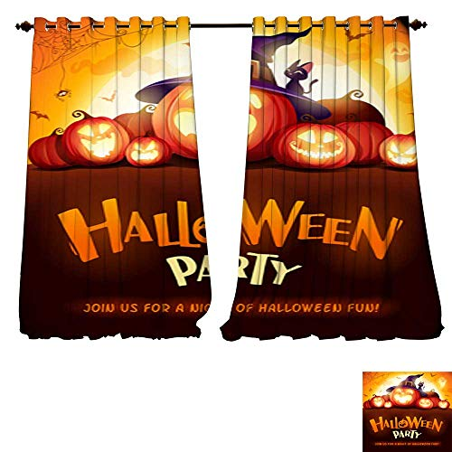 DESPKON-HOME Room Darkening Wide Curtains Halloween Party Jack O Lantern Party Halloween Pumpkin Patch in The Moonlight Tie Up Window Drapes Living Room -W108 x L108/Pair ()