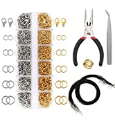 EuTengHao 1314pcs Open Jump Rings and Lobster Clasps Jewelry Repair Tools Kit Jewelry Making Supp...