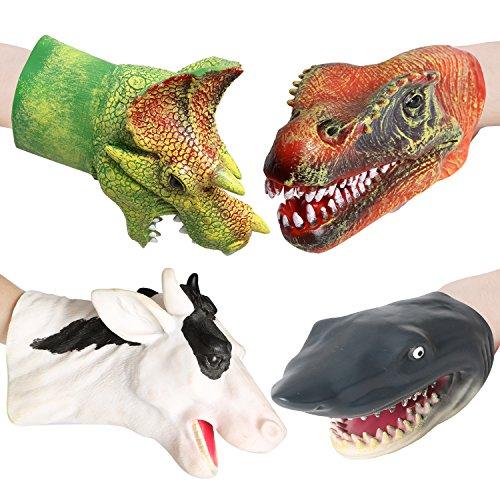 "rainbow yuango Pack of 4 9.8"" Realistic Dinosaur Hand..."